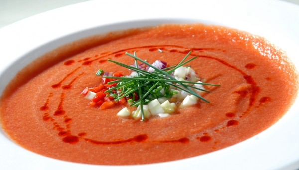 The Spanish cold tomato soup gaspacho